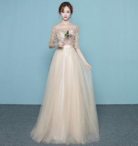 オフショルダー Aライン フォーマル ブライズメイドドレス/パーティードレス結婚式二次会卒業式 花嫁の介添え着痩せ 司会 プリンセス