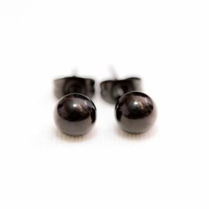 ステンレスピアス ステンレス丸玉ボールピアス シルバー/イエローゴールド/ローズゴールド/ブラック(両耳用) 金属アレルギー 316L
