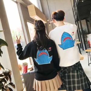 お得 ペアルックパーカー クラス服 裏起毛厚手 韓国風 サメのプリントスプライス レディース メンズファッション ゆったり
