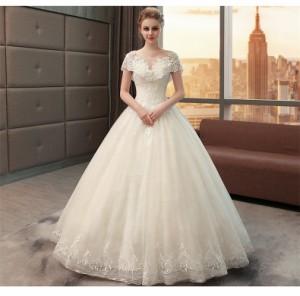 おすすめ 宮廷風 レース ウェディングドレス オフショルダー Aライン 白 結婚式 披露宴 ベール パニエ グローブプレゼント付 H032