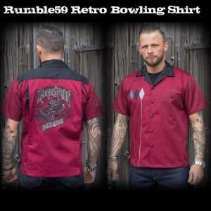 送料無料【Rumble59】 メンズ/半袖シャツ/ロカビリー ボウリング/シャツ 刺繍/ボーリングシャツ ワイン