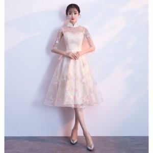 パーティードレス 結婚式ドレス 袖あり ウエディングドレス レース 大人 可愛い 着痩せ 上品 お呼ばれ 食事会 二次会 披露宴 成人式