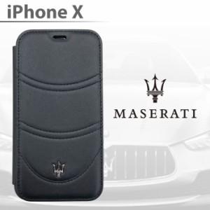 15b0ed3b0c エアージェイ MASERATI マセラティ iPhoneケース iPhoneX 本革 手帳型ケース レザー ブラック シンプル ビジネス