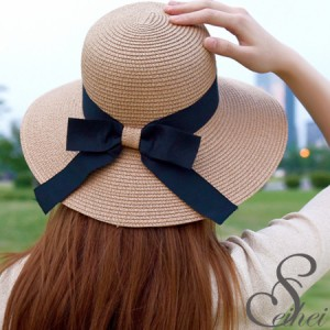 帽子 レディース つば広 リボン付き 麦わらHAT  紫外線対策 UVカット(宅配便対応のみ)