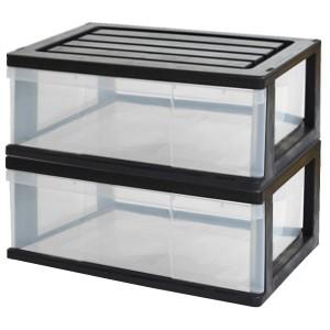 収納ボックス 収納ケース 衣類 押入れ 引き出し ワイド チェスト プラスチック 1段 2個組 幅60cm おしゃれ ブラッククリア 送料無料
