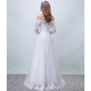 ウェディングドレス パーティードレス  ホワイト 着痩せ 披露宴 司会者 舞台衣装 花嫁 レース  オフショルダー