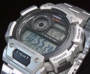 a5b6ea5249 CASIO【カシオ/スタンダード】デジタル 世界地図表示ワールドタイム メンズ腕時計 メタルベルト. アップ画像