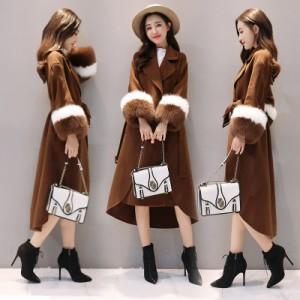 ウールコート ラシャコート ジャケット 秋冬 ロング丈 フード フェイクファー付き 暖かい ゆったり 防風 防寒 厚手