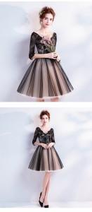 Vネック  レースミニドレス パーティードレス イブニングドレス二次会 発表会 着痩せ 20代30代 成人式 プリンセス 誕生日