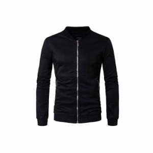 メンズジャケット カジュアルジャケット 無地 ファスナー付き シンプル スタジャン ショート丈 スタンドカラー スタイリッシュ