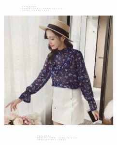 トップス 長袖 デザイン袖 花柄 シフォン フレア フリル 0773