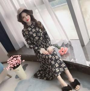 ワンピース 花柄 デザイン袖 ミモレ丈 フレアスカート 0786