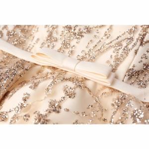 c60cdb01e3b87 ウェディングドレス ミニ カラードレス 金色 スパンコール ウエディングドレス 花嫁 二次会 ドレス 結婚式 コンサートワンピース