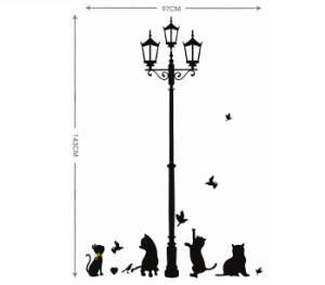 ウォールステッカー 黒猫 四匹 街灯 壁シール シルエット風 小鳥 オシャレな 動物 欧風 くろねこ 剥がせる インテリアシール