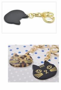 キーホルダー バッグチャーム 猫 ネコ キーリング にゃんこ キャット ねこ フェイス べっ甲風 プレート アニマル 動物