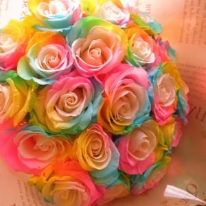 ホワイトデー お返し 花 レインボーローズ プリザーブドフラワー 花束 大輪系20本使用 プリザーブドフラワー 花束 枯れずにいつ