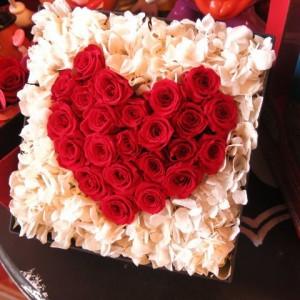 ホワイトデー プレゼント ハート プリザーブドフラワー 箱を開けるとサプライズ 箱一面お花がいっぱいの スマイル ハート フラワ