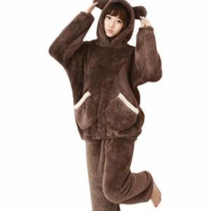 クマ もこもこ ルームウェア パジャマ 上下セット 可愛い ペアルック