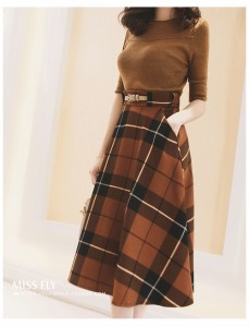 ☆彡★ sale中 ★☆彡 フレアーな形が可愛いスカート♪ チェック柄 レトロハイウエストロングスカートALOC10821