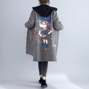 コートマタニティ大きいサイズロング丈 コートアウターウェア パーカー/ストリート風ゆったり裏起毛ジャケット大きいサイズZH006