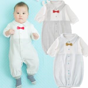 a43ba739ed5bd 蝶ネクタイ重ね着風新生児ツーウェイオール  ベビー服   赤ちゃん   ベビー