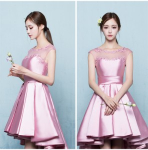 d9881c7b2bb47 パーティドレス 2色 ピンク レッド サテン生地 プリーツスカート 刺繍レース 編み上げ レースアップ トレーン上品エレガントの通販はWowma!