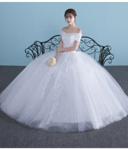 70d22ba7fa94d 新作レースロングドレス パニエ付き プリンセス パーディードレス 結婚式 ブライダルドレス 披露宴 二次会 発表