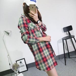 【送料無料】レディース 長袖 チェック柄|レディースシャツ  ブロックチェック レディース アウター カジュアル 麻綿
