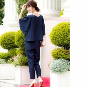 結婚式 セットアップ パンツドレス 大きいサイズ ドレス パンツ フレア袖 レース パーティードレス 袖あり パンツスーツ db18033