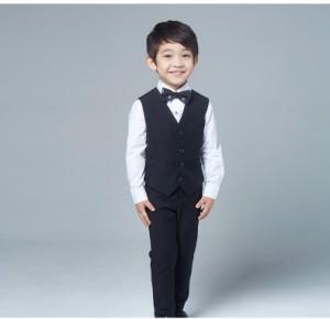 激安 子供スーツ4点セット タキシード フォーマルスーツ 男の子 ジュニア セレブ 紳士服 ピアノ 演出服 司会者