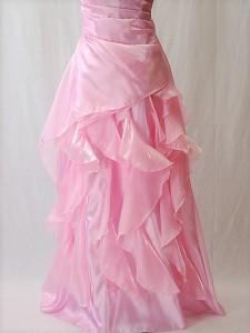 ロングドレス274 綺麗な光沢のパーティードレス 豪華なフリルのカラードレス 演奏会のロングドレス 即納 送料無料