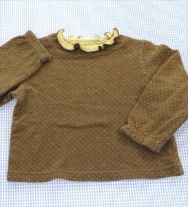 9e08b0d19f21f ハッシュアッシュ HusHusH 長袖Tシャツ ロンt 80cm 茶系 ドット 女の子 キッズ 子供服