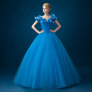ウェディングドレス  カラードレス パーティドレス ワンピ Aライン プリンセス シンデレラ風 舞台 パニエ付 オーダーサイズ可能 H008