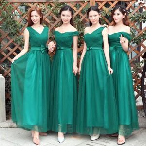 a672b27160353 ダークグリーン ロングドレス ウエディングドレス ブライズメイドドレス フォーマルドレスパーティードレス イブニングドレス