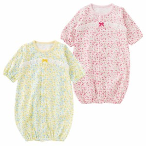 424fe28389743 小花柄新生児ツーウェイオール ベビー服  赤ちゃん  ベビー  ツーウェイ