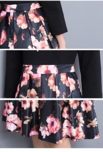 『代引対応可』  花柄ワンピース ロング丈 3色 七分袖