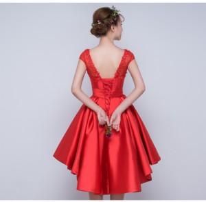 43894041a2c6c パーティドレス 2色 ピンク レッド サテン生地 プリーツスカート 刺繍レース 編み上げ レースアップ トレーン上品エレガント