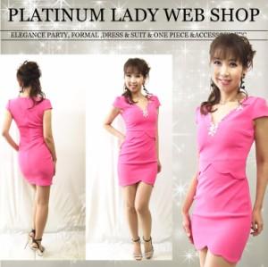 2165764c668ee  美シルエット パール&クリスタルビジュー装飾 スカラップデザインミニドレス ドレス キャバ