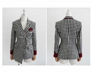 パンツスーツ 予約 セットアップ長袖ジャケット七分丈パンツチェックS M u9601