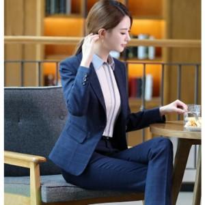フォーマルレディースビジネススーツチェック/パンツスーツ/スカートスーツ/シャツ3点セット/OL通勤/結婚式/入学式/入園式/卒業式就活/