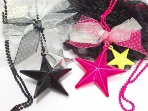 ネックレス 星 スター りぼん 大きめ デカ可愛い 黒 ブラック ピンク メール便対応 ロック V系 バンギャ ゴスロリ ハロウィン N-3360