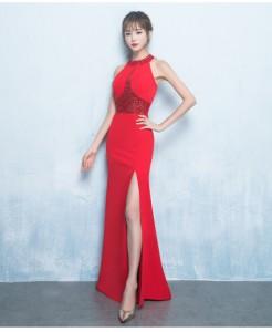 派手なロングドレス ベアトップパーティードレス スレンダーライン スリット イブニングドレス二次会/年