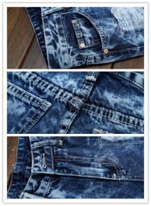 デニムパンツ メンズ ジーンズ ダメージ加工 刺繍 切替 大きいサイズ カジュアル ボトムス スリム 細身 スキニー 復古 学生 オシャレ