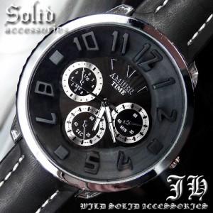 b68d791529 送料無料 超人気 メンズ 腕時計 おしゃれ ビッグフェイス ブラック 黒 アナログ プレゼント 【tvs4