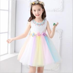 虹色 110,150CM 子供ドレス キッズドレス ワンピース フォーマル 女の子 ジュニア ピアノ発表会