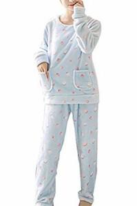 あったか かわいい もこもこ ルームウェア パジャマ 長袖 秋 冬 ドット 柄
