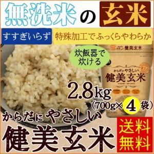 【送料無料】無洗米からだにやさしい健美玄米 2.8kg(700g×4袋) 29年産【一等米岩手ひとめぼれ使用】【北海道沖縄へは別途送料830円】