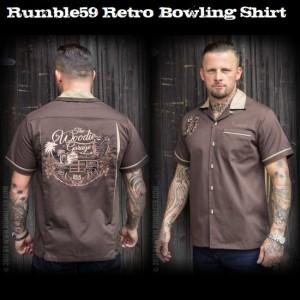 送料無料【Rumble59】 メンズ/半袖シャツ/ロカビリー ボウリング/シャツ 刺繍/ボーリングシャツ ブラウン