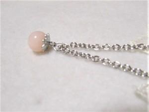 チェーンの細さが選べる★ピンクオパールの一粒ネックレス・ピアスセット  桃色 ピンク まる 丸 誕生石 10月  ペンダント
