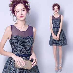 6f73dd85e8184 ウェディングドレス ミニ カラードレス ネイビー スパンコール ウエディングドレス 花嫁 二次会 ドレス 結婚式 コンサート ワンピース